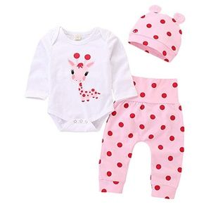 3Pcs Giraffe Print Long Sleeve Polka dot set